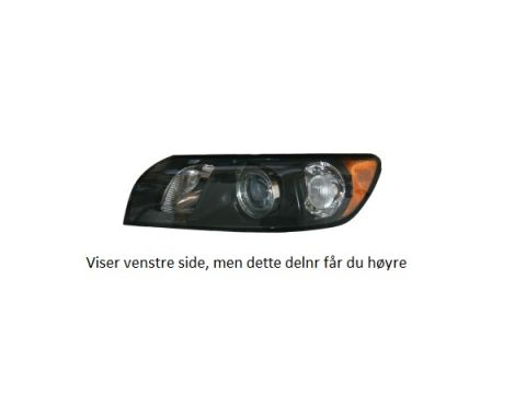 HOVEDLAMPE VOLVO S40/V50 2004-2007 HØYRE mørk innsats