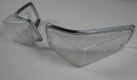 Blinkglass sats Volvo 140-67-72 med blank kant helhvite
