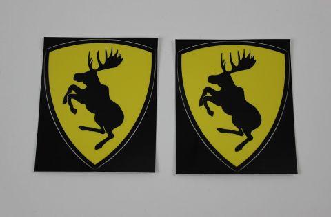 "Stickers-klistremerke ""Ferrari-ELG  svart/gul  66x72 mm. par"