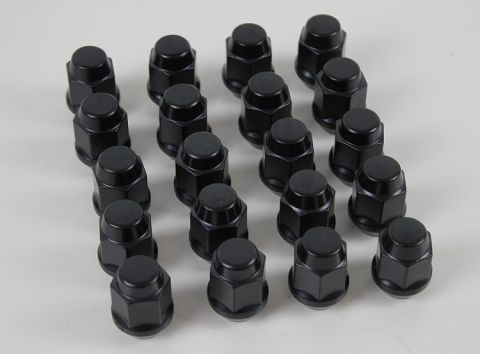 Hjulmutter kuppel alle 700/900 12x1,5mm  SVART sett 20stk