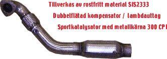 EKSOS SPORT JT FRONTRØR/DOWNPIPE 850 TURBO MED CAT.